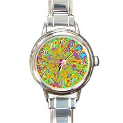 Magic Ripples Flower Power Mandala Neon Colored Round Italian Charm Watch by EDDArt