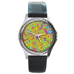Magic Ripples Flower Power Mandala Neon Colored Round Metal Watch by EDDArt