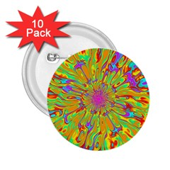 Magic Ripples Flower Power Mandala Neon Colored 2 25  Buttons (10 Pack)  by EDDArt