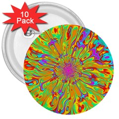 Magic Ripples Flower Power Mandala Neon Colored 3  Buttons (10 Pack)  by EDDArt