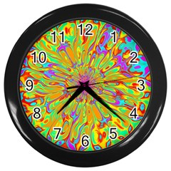Magic Ripples Flower Power Mandala Neon Colored Wall Clocks (black) by EDDArt