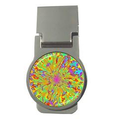 Magic Ripples Flower Power Mandala Neon Colored Money Clips (round)  by EDDArt