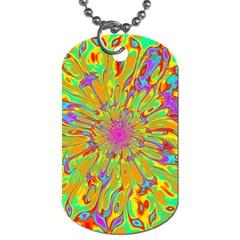 Magic Ripples Flower Power Mandala Neon Colored Dog Tag (one Side) by EDDArt