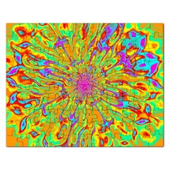 Magic Ripples Flower Power Mandala Neon Colored Rectangular Jigsaw Puzzl by EDDArt