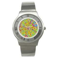 Magic Ripples Flower Power Mandala Neon Colored Stainless Steel Watch by EDDArt