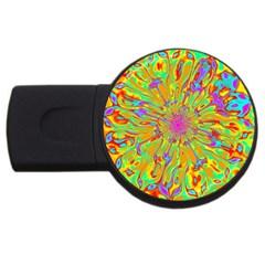 Magic Ripples Flower Power Mandala Neon Colored Usb Flash Drive Round (4 Gb) by EDDArt