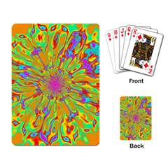 Magic Ripples Flower Power Mandala Neon Colored Playing Card by EDDArt