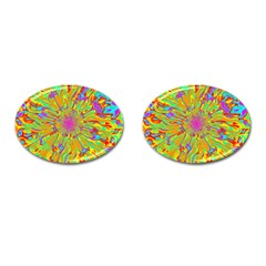 Magic Ripples Flower Power Mandala Neon Colored Cufflinks (oval) by EDDArt