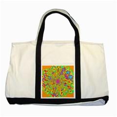 Magic Ripples Flower Power Mandala Neon Colored Two Tone Tote Bag by EDDArt