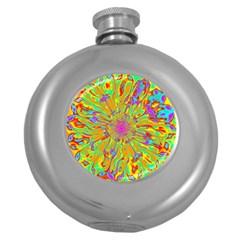 Magic Ripples Flower Power Mandala Neon Colored Round Hip Flask (5 Oz) by EDDArt