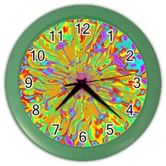 Magic Ripples Flower Power Mandala Neon Colored Color Wall Clocks by EDDArt