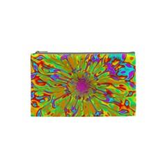 Magic Ripples Flower Power Mandala Neon Colored Cosmetic Bag (small)  by EDDArt
