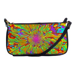 Magic Ripples Flower Power Mandala Neon Colored Shoulder Clutch Bags by EDDArt