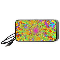 Magic Ripples Flower Power Mandala Neon Colored Portable Speaker (black) by EDDArt
