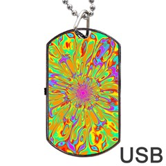 Magic Ripples Flower Power Mandala Neon Colored Dog Tag Usb Flash (one Side) by EDDArt