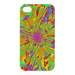 Magic Ripples Flower Power Mandala Neon Colored Apple Iphone 4/4s Premium Hardshell Case by EDDArt