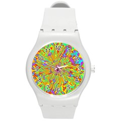 Magic Ripples Flower Power Mandala Neon Colored Round Plastic Sport Watch (m) by EDDArt