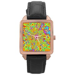 Magic Ripples Flower Power Mandala Neon Colored Rose Gold Leather Watch  by EDDArt