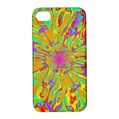 Magic Ripples Flower Power Mandala Neon Colored Apple Iphone 4/4s Hardshell Case With Stand by EDDArt