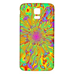 Magic Ripples Flower Power Mandala Neon Colored Samsung Galaxy S5 Back Case (white) by EDDArt