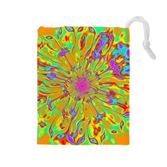 Magic Ripples Flower Power Mandala Neon Colored Drawstring Pouches (large)  by EDDArt