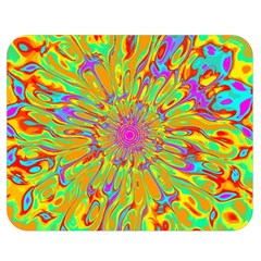 Magic Ripples Flower Power Mandala Neon Colored Double Sided Flano Blanket (medium)  by EDDArt
