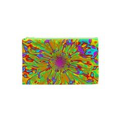 Magic Ripples Flower Power Mandala Neon Colored Cosmetic Bag (xs) by EDDArt