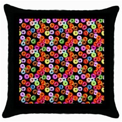 Colorful Yummy Donuts Pattern Throw Pillow Case (black) by EDDArt