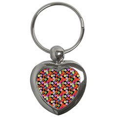 Colorful Yummy Donuts Pattern Key Chains (heart)  by EDDArt