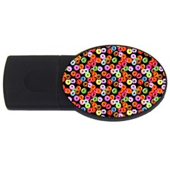 Colorful Yummy Donuts Pattern Usb Flash Drive Oval (2 Gb) by EDDArt