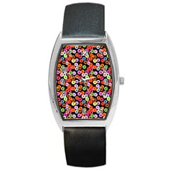 Colorful Yummy Donuts Pattern Barrel Style Metal Watch by EDDArt
