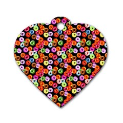 Colorful Yummy Donuts Pattern Dog Tag Heart (one Side) by EDDArt