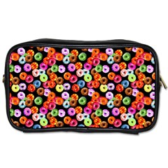 Colorful Yummy Donuts Pattern Toiletries Bags 2 Side by EDDArt