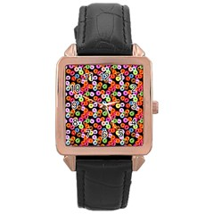 Colorful Yummy Donuts Pattern Rose Gold Leather Watch  by EDDArt