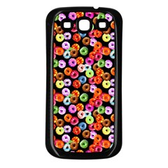 Colorful Yummy Donuts Pattern Samsung Galaxy S3 Back Case (black) by EDDArt