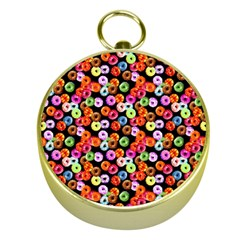 Colorful Yummy Donuts Pattern Gold Compasses by EDDArt