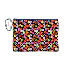 Colorful Yummy Donuts Pattern Canvas Cosmetic Bag (m) by EDDArt