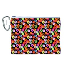 Colorful Yummy Donuts Pattern Canvas Cosmetic Bag (l) by EDDArt