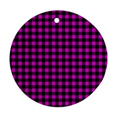 Lumberjack Fabric Pattern Pink Black Ornament (round) by EDDArt