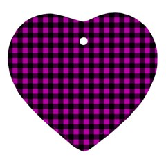 Lumberjack Fabric Pattern Pink Black Ornament (heart) by EDDArt