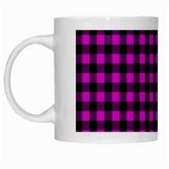 Lumberjack Fabric Pattern Pink Black White Mugs by EDDArt