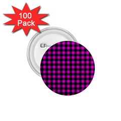 Lumberjack Fabric Pattern Pink Black 1 75  Buttons (100 Pack)  by EDDArt