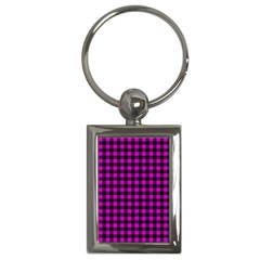 Lumberjack Fabric Pattern Pink Black Key Chains (rectangle)  by EDDArt