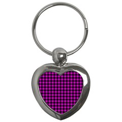 Lumberjack Fabric Pattern Pink Black Key Chains (heart)  by EDDArt