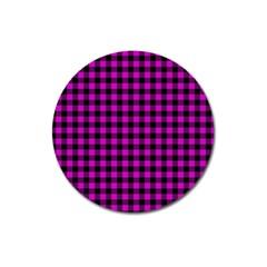 Lumberjack Fabric Pattern Pink Black Magnet 3  (round) by EDDArt