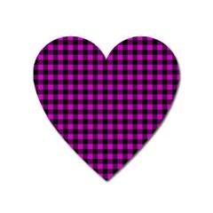 Lumberjack Fabric Pattern Pink Black Heart Magnet by EDDArt