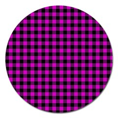 Lumberjack Fabric Pattern Pink Black Magnet 5  (round) by EDDArt