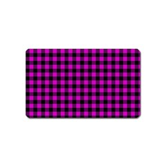 Lumberjack Fabric Pattern Pink Black Magnet (name Card) by EDDArt