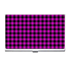 Lumberjack Fabric Pattern Pink Black Business Card Holders by EDDArt