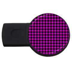Lumberjack Fabric Pattern Pink Black Usb Flash Drive Round (2 Gb) by EDDArt